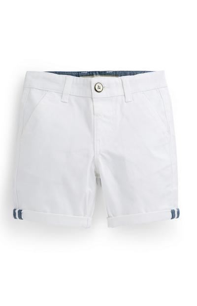 Younger Boy White Chino Shorts