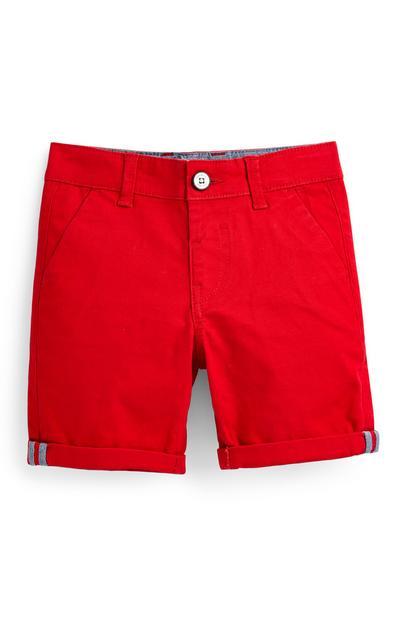 Pantalón chino corto rojo para niño pequeño