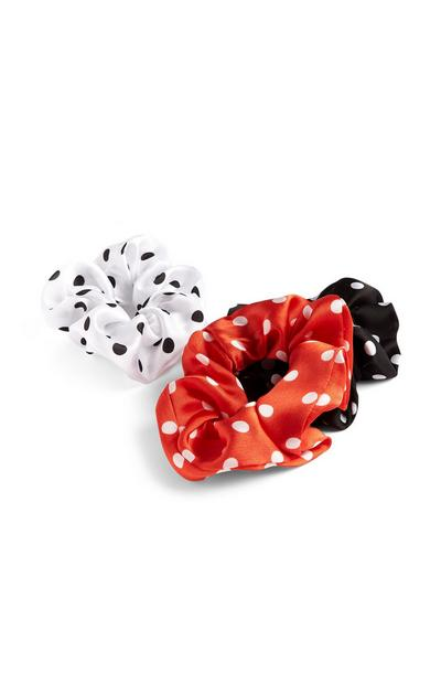 3-Pack Red, Black And White Polka Dot Scrunchies