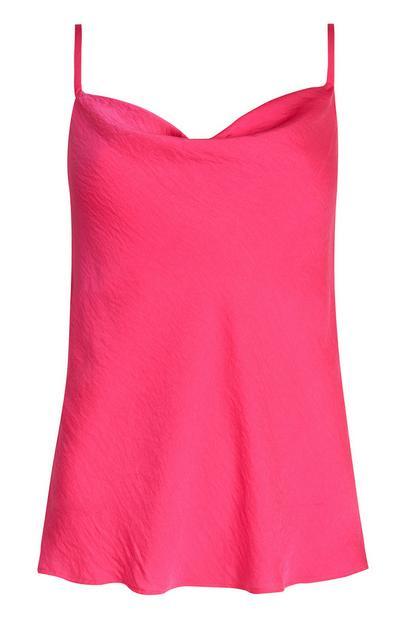 Pink Satin Cowl Neck Vest