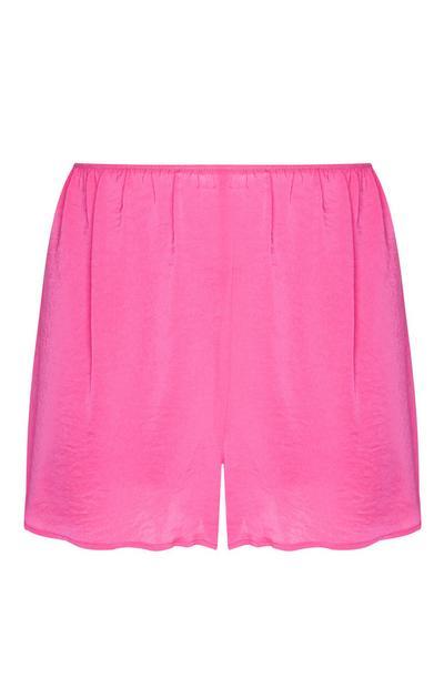 Shorts rosa in raso