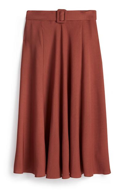 Terracotta Belted Pleated Midi Skirt