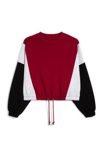Red Gray And Black Color Block Drawstring Hem Sweatshirt