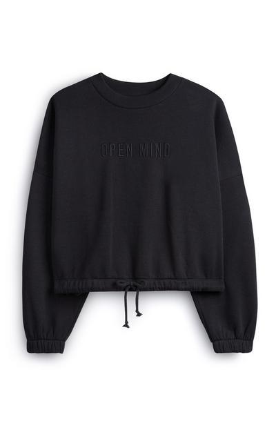 Schwarzer Pullover mit Kordelzug