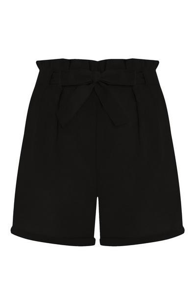 Shorts neri in lino con cintura