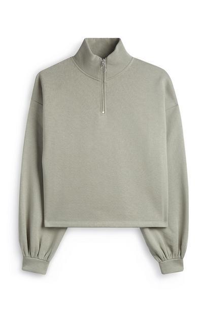 Green Puff Sleeve Fleece
