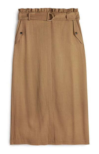 Light Brown Belted Utility Midi Skirt