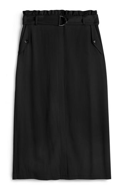 Black Belted Utility Midi Skirt