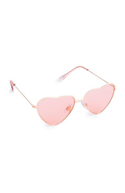 Younger Girl Pink Heart Shaped Sunglasses