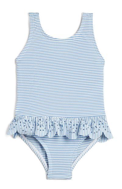 Blauw babybadpak met streepjes en ruches, meisjes