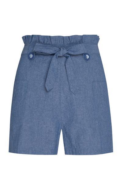 Blauwe korte broek met hoge taille en strik