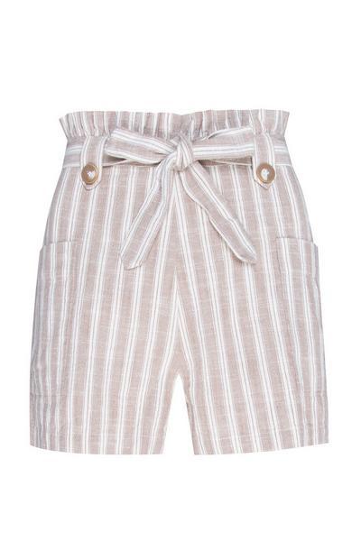Beige gestreepte korte broek met hoge taille en strik