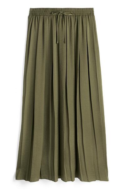 Olive Soft Pleated Midi Skirt