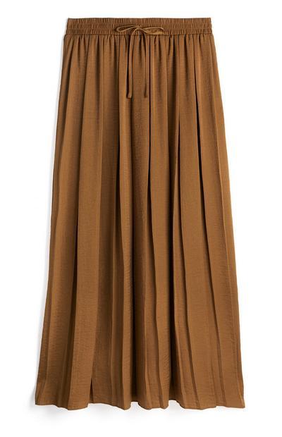 Light Brown Soft Pleat Midi Skirt