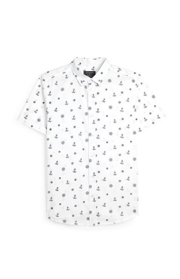Wit overhemd met korte mouwen en ankerprint