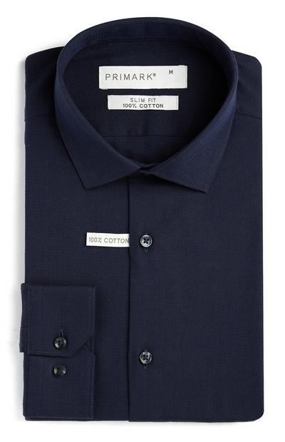 Navy Cotton Slim Fit Shirt
