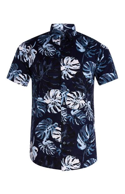 Navy Palm Leaf Print Shirt
