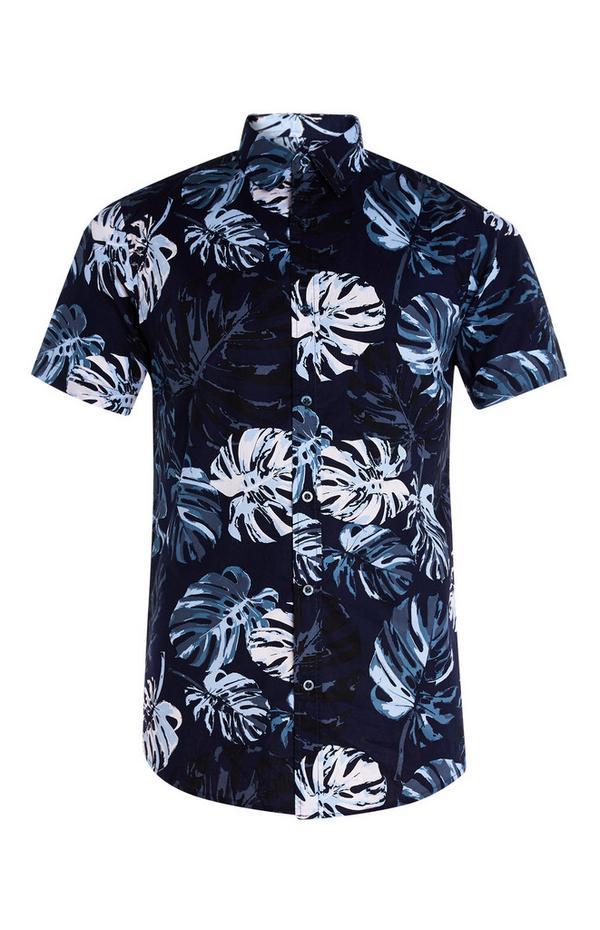 Katoenen overhemd met tropische bladeren, korte mouwen