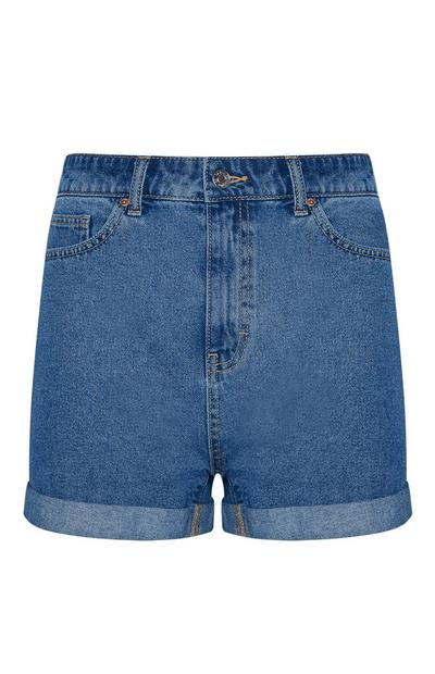 Blauwe denim mom-short