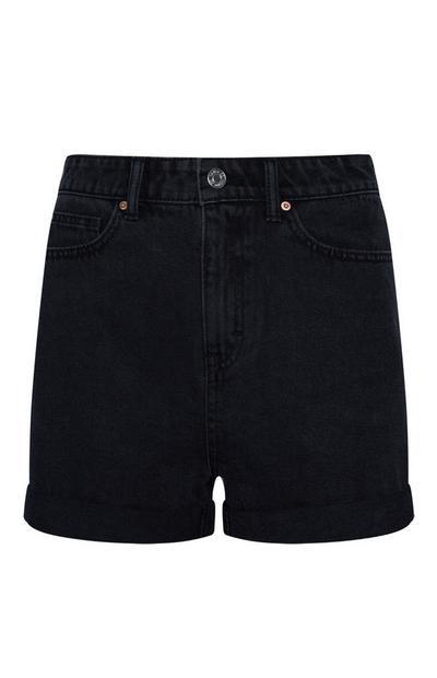 Shorts mom neri in denim