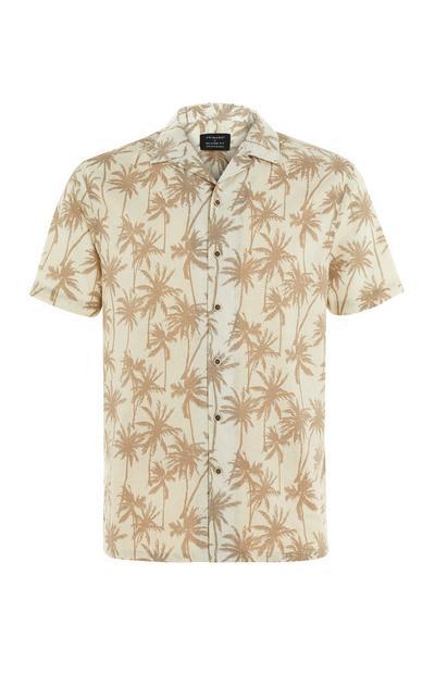 Camisa manga curta linho estampado palmeiras