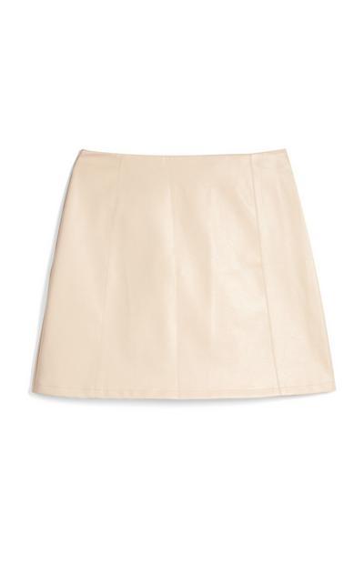 Light Cream Faux Leather Mini Skirt