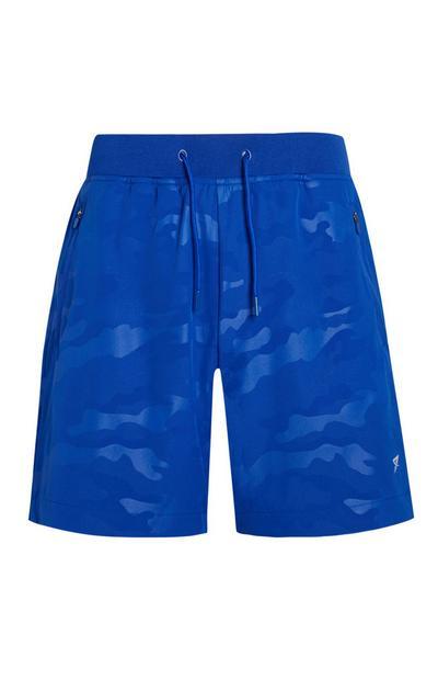 Blauwe sportshorts met camouflageprint