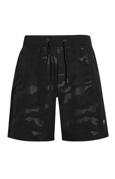 Zwarte sportshorts met camouflageprint