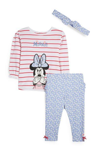 Gestreepte tuniek en legging Minnie Mouse, set van 3