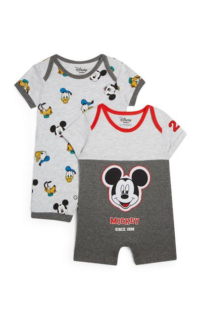 Mickey Mouse And Friends Grey Rompers 2Pk