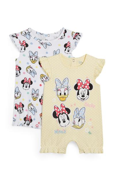 2-Pack White And Yellow Minnie Mouse And Daisy Duck Rompers