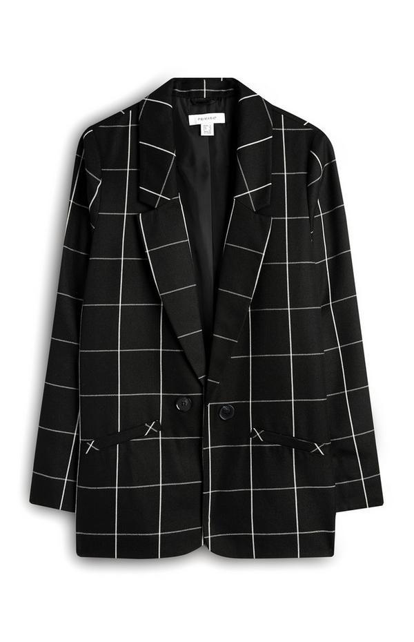 Črn karirast suknjič z enim gumbom