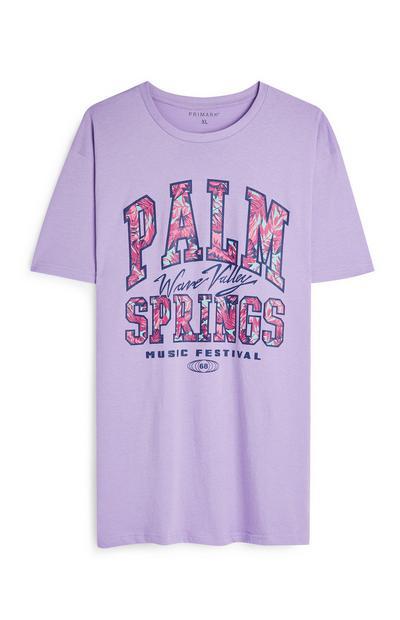 T-shirt lilla a maniche corte con scritta Palm Springs