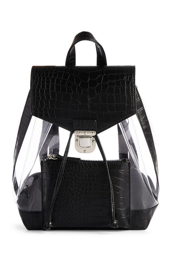 Black Faux Leather Clear Backpack