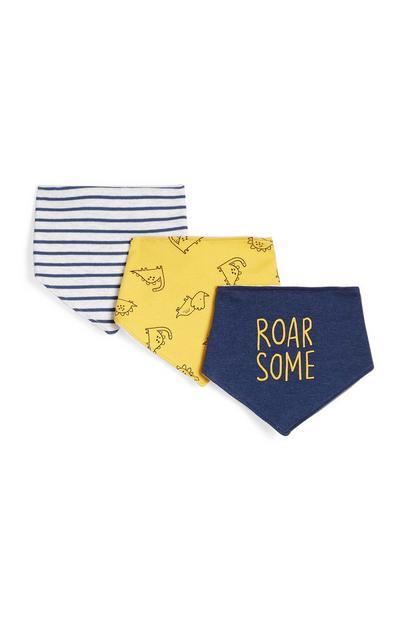 Blauwe bandana-slabbetjes Roarsome, 3 stuks