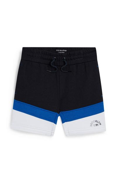 Younger Boy White And Navy Brooklyn Slogan Shorts