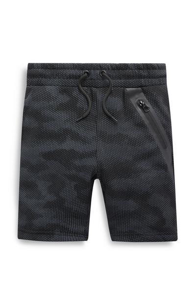 Older Boy Black Camo Shorts