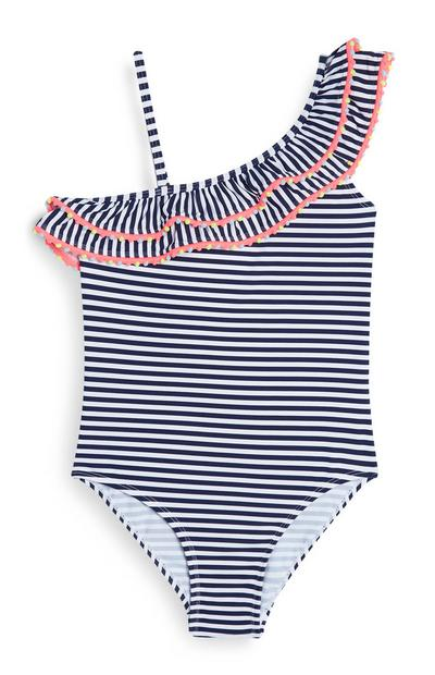 Older Girl Navy Stripe One Shoulder Swimsuit
