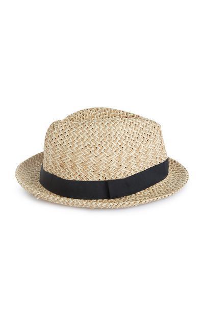 Naravni slamnati klobuk s črnim trakom