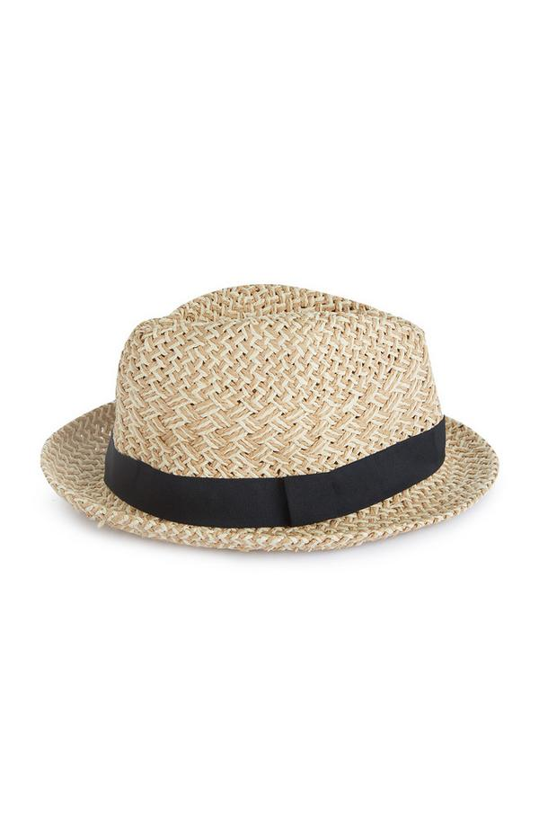Straw Natural Black Ribbon Trilby