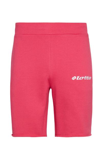 Pantalones cortos de ciclista en color rosa intenso con el logo de Lotto