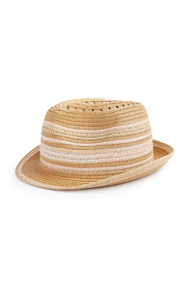 Older Girl Stripe Straw Trilby Hat