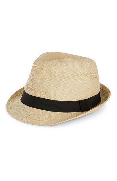 Straw Natural Black Detail Hat