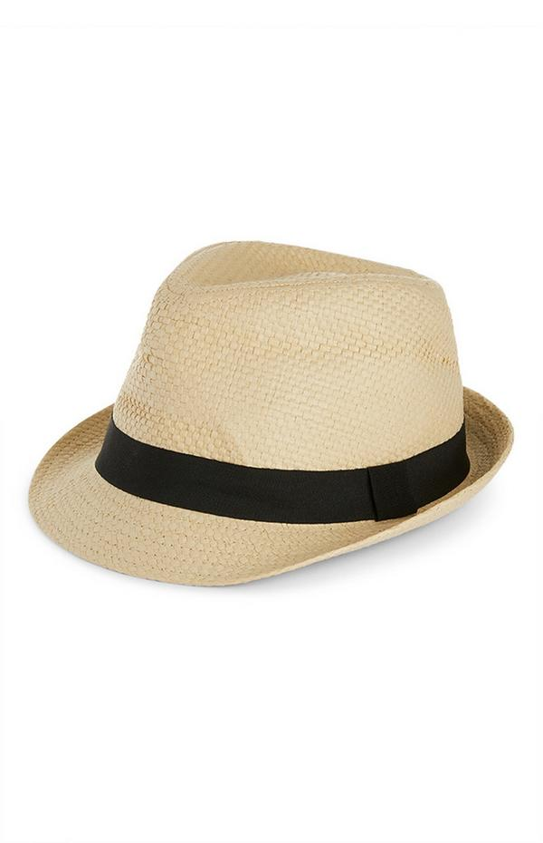 Cappello di paglia naturale con nastro nero