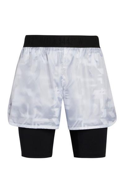 Shorts da corsa bianchi 2 in 1
