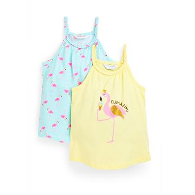 Younger Girl Flamingo Print Vests 2 Pack