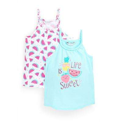 Younger Girl Watermelon Print Vests 2 Pack