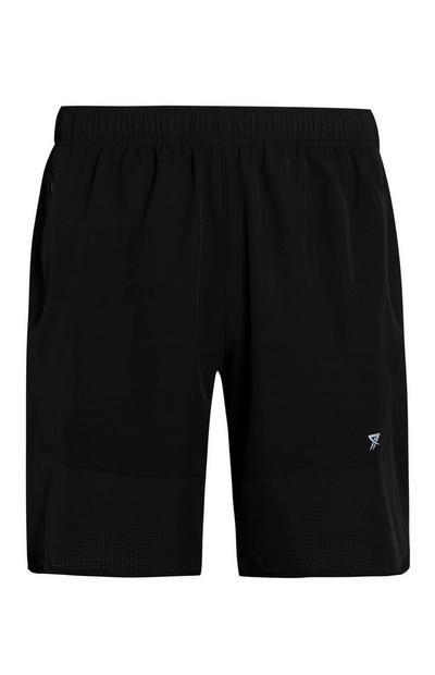 Črne srednje dolge telovadne kratke hlače