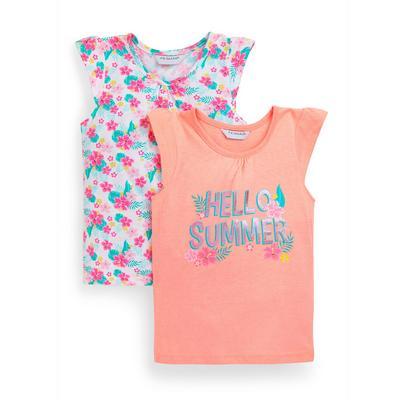Younger Girl Floral Print Vests 2 Pack