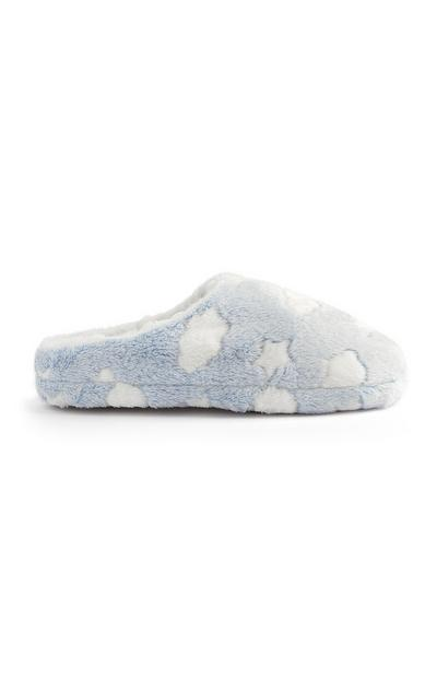 Blue And White Cloud Print Slippers